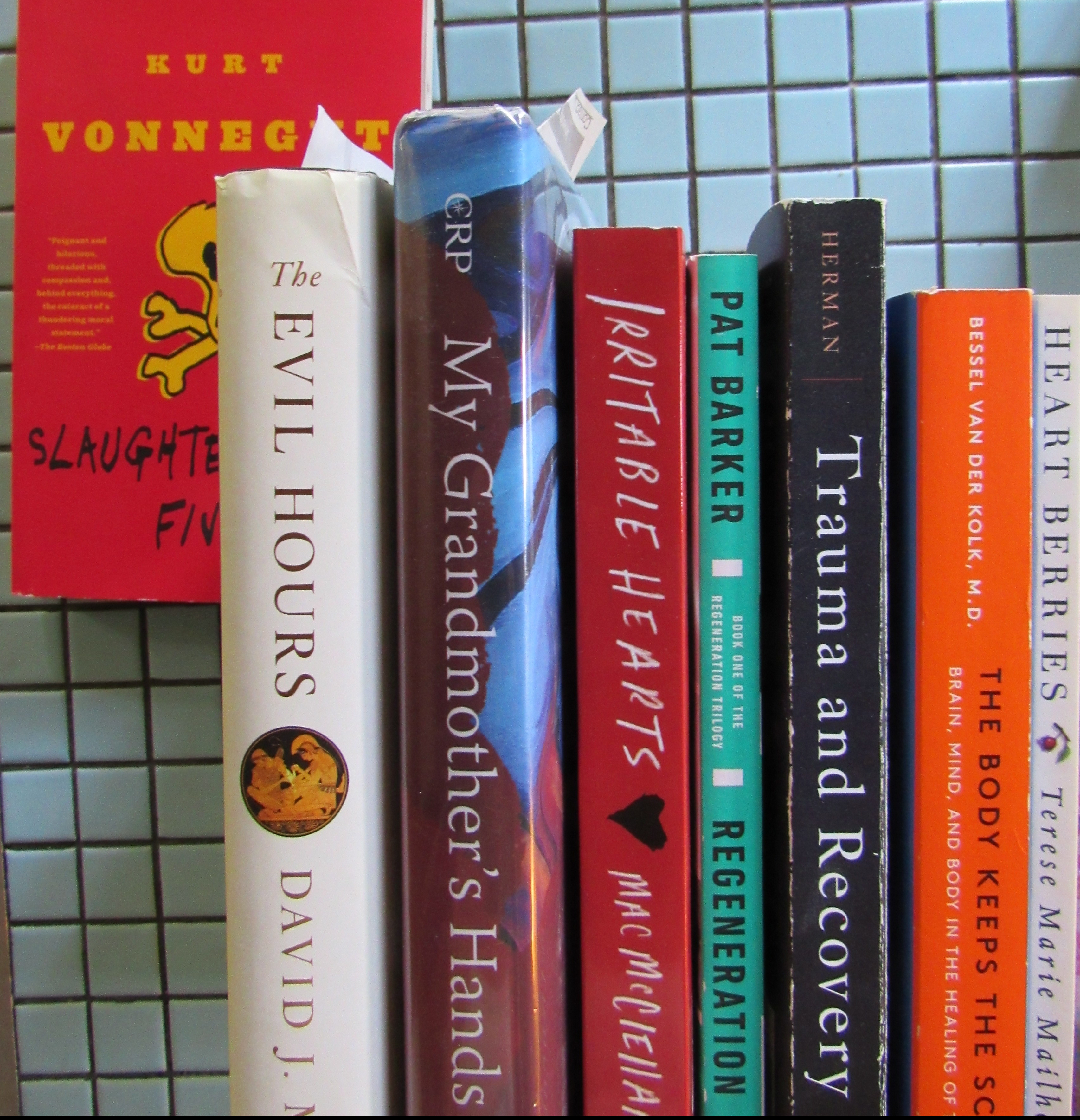 Stack of books including Slaughterhouse Five, The Evil Hours, My Grandmothers Hand, Irritable Hearts, Regeneration, Trauma and Recovery, The Body Keeps the Score, and Heartberries