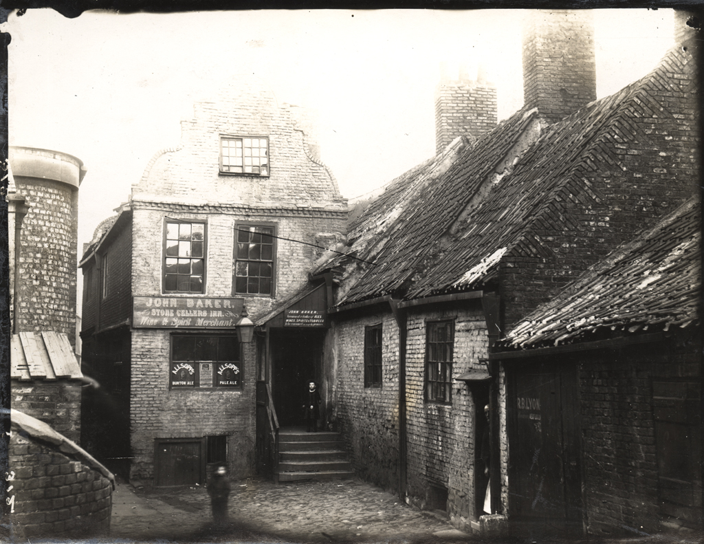 A black and white image of the Stone Cellars Inn in St Lawrence.