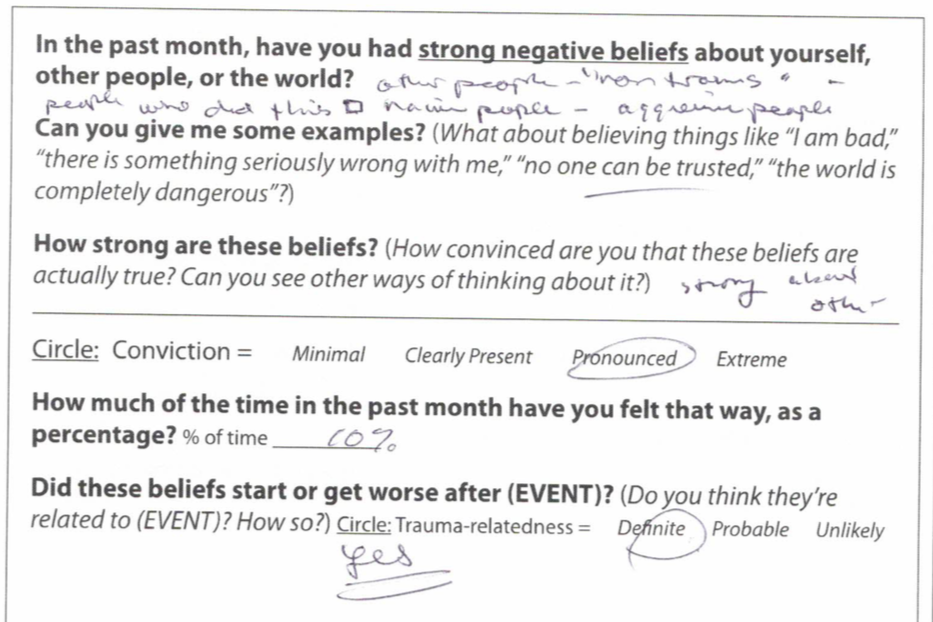 """A portion of the CAPS-5 test for PTSD, with a question that reads, """"In the past month, have you had strong negative beliefs about yourself, other people, or the world?"""""""
